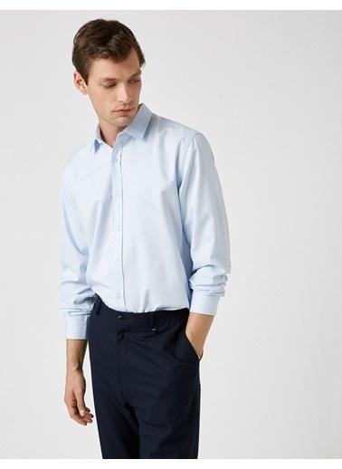 Koton Uzun Kollu Basic Gömlek Mavi